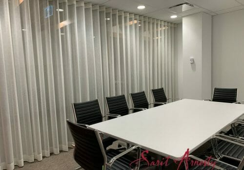 Commercial drapes Installed at St. Clair office – Toronto.